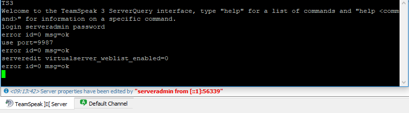 how to stop serverquery from sending messages teampseak 3